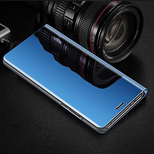 Kompatibel für Huawei Y7 2018 Hülle, Spiegel Hülle Flip Case für Huawei Honor 7C Handy Schutzhülle [Ständer] Dünn Clear View PC Plastik Hard Cover Handyhülle (Blau, Huawei Y7 2018/Honor 7C) - 5