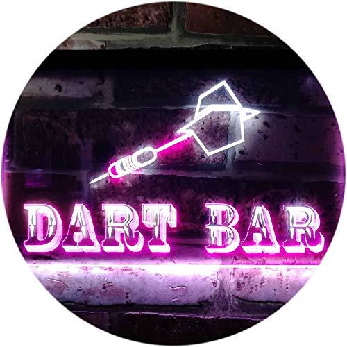 ADV PRO Dart Bar Club VIP Beer Pub Dual Color LED Barlicht Neonlicht Lichtwerbung Neon Sign Weiß & Violett 400 x 300mm st6s43-m0118-wp