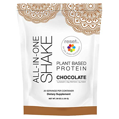 Reset360 Plant Based Protein Powered | All In One Meal Replacement Shake | Gluten Free, Soy Free, Dairy Free, Low Carb, Low Sugar Shakes For Weight Loss, 20 Servings, 33.3oz, Chocolate, 1 Pack