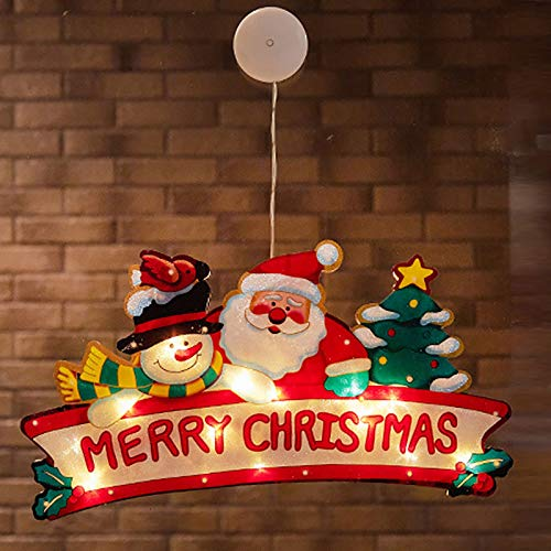 Christmas Window Hanging led Light Xmas Ornament Suction Cup Battery,Christmas Candle Lantern led Candle Holder Decor Night Light,for Home Bedroom Warm (Style 6)