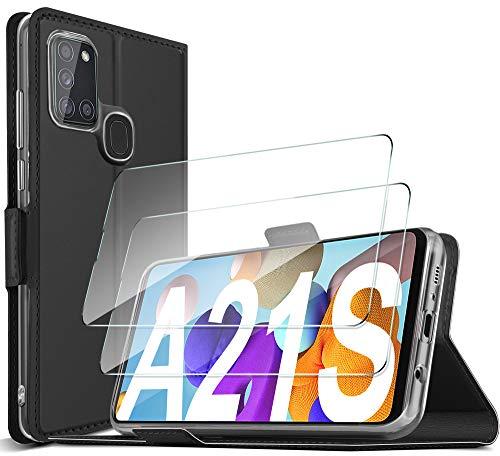 GESMA für Samsung Galaxy A21S Hülle + Panzerglas (2 Stück),Samsung Galaxy A21S Flip Wallet Schutzhülle Standfunktion Handyhülle mit Samsung Galaxy A21S Panzerglas Schutzfolie, für Samsung Galaxy A21S