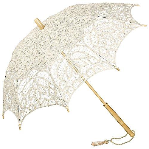 VON LILIENFELD Hochzeitsschirm Brautschirm Sonnenschirm Vivienne Spitze Deko Accessoire Dunkles Creme beige