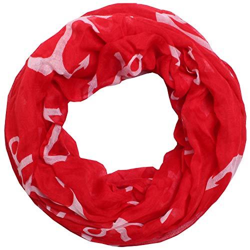 Zarter Sommer Loopschal Model: Großer Anker angenehm und leicht zu tragen, Damen Rundschal, Schal, Loop, Sommerschal (rot)