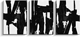 Pinetree Art 3 Panels Black and White Abstract Canvas Wall Art Prints Painting for Living Room (Medium)