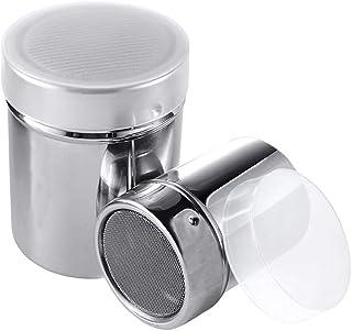 Tecreo Salero con cuchara recipiente para sal azucarero con cuchara recipiente de cristal pimienta especias