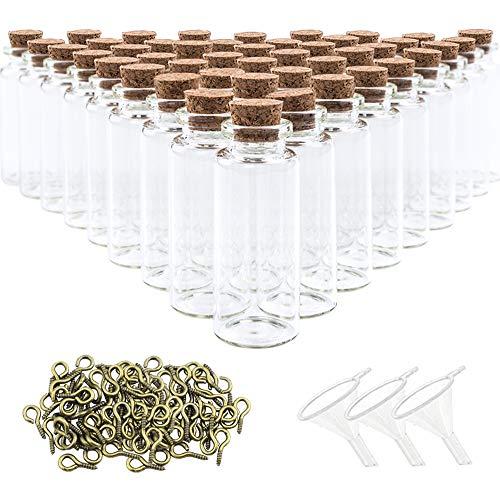SUPERLELE Glass Bottles with Cork 48pcs 20ml Mini Glass Bottles Cork Jars with 48pcs Eye Screws 3pcs Funnel