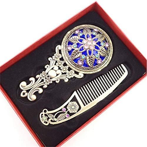 huashangbaihuodian Couleur aléatoire 2PCS / Set Creux cosmétique Compact Miroir Peigne Set avec boîte Cadeau rétro Miroir de Poche en Bronze