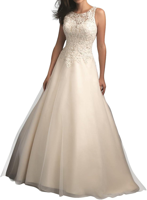 Fipink Tulle ALine Floor Length Lace Bridal Wedding Dresses Elegant Prom Dress