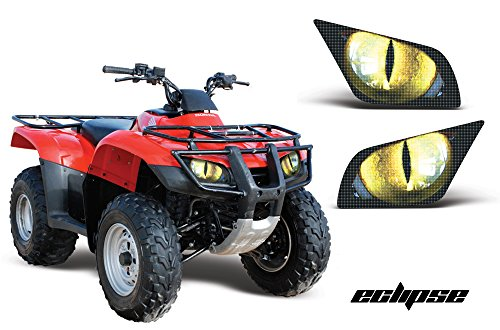 AMR Racing ATV Headlight Eye Graphics Decal Cover Compatible with Honda Recon 2005-2014 - Eclipse Yellow