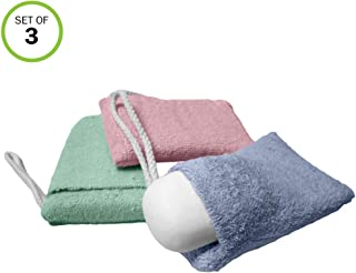 Evelots Soap Saver/Holder-Pocket-Soft Microfiber-Grab Dirt Easily-On Rope-Set/3