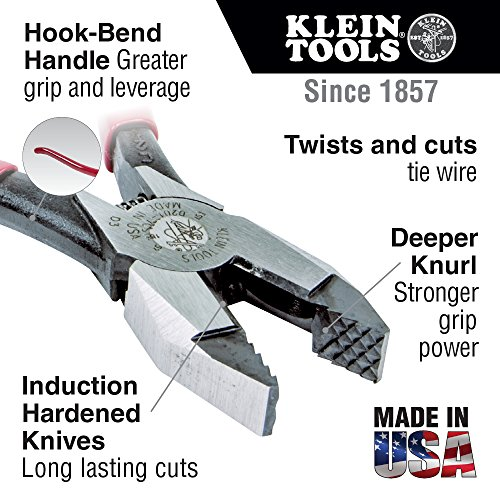 Klein Tools D201-7CSTA Linesman Pliers, Side Cutters with Spring Loaded Action, Ironworker Pliers have Aggressive Knurl and Tempered Handles