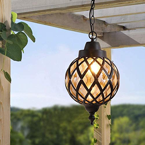DC Wesley Outdoor Garten wasserdichte Kronleuchter, Retro Metall Kronleuchter Globus Glaslampe, Villa Pavilion Pavillon Terrasse Veranda Beleuchtung