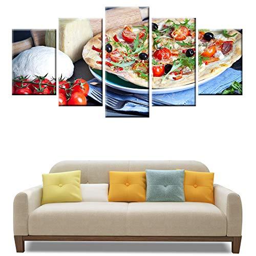 DGGDVP 5 stuks lekkere pizza muur kunst poster canvas schilderij modulaire keuken restaurant wanddecoratie 40x60cmx2 40x80cmx2 40x100cmx1 Geen frame