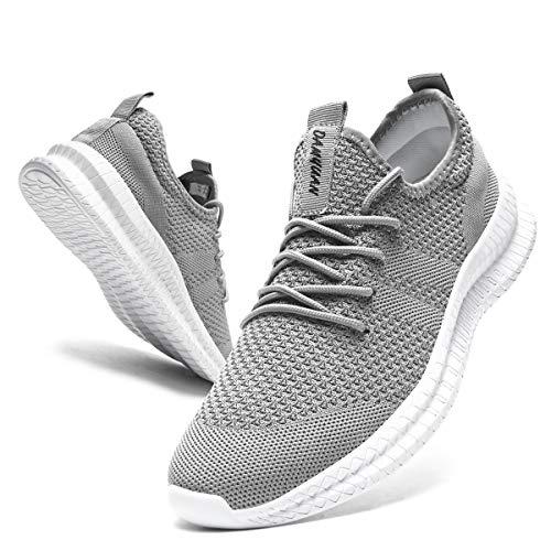 CAIQDM Schuhe Herren Laufschuhe Sneaker Outdoor Sportschuhe Turnschuhe männer Joggingschuhe atmungsaktiv Running Shoes Men Walking Schuhe Freizeitschuhe Fitness Schuhe, Grau, 44 EU