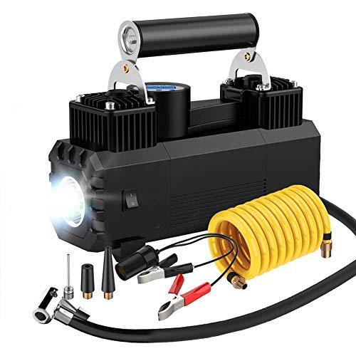Compresseur D'air Portatif Gonfleur De Pneu De Voiture 12V Pompe Arrêt Automatique Pression De Pneu Préréglée Et Lumière LED,Black