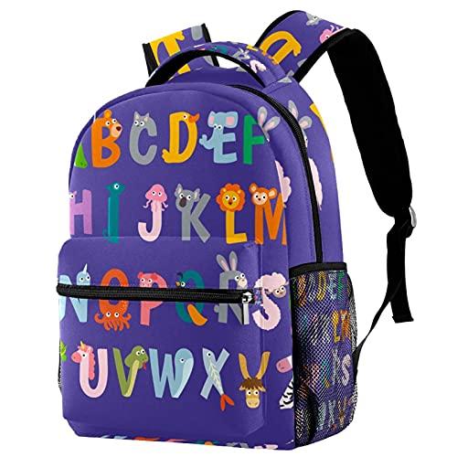 Mochila de escuela de princesa, mochila para niñas y niños, bolsa de escuela, bolsa de libros para mujeres y niñas, bolsa de libros divertida, mariposas y palabras, Animais Letter Alphabets 10, Medium