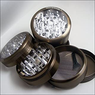 Sharpstone Herb Grinder Clear Top 4 Piece Green and a Cali Crusher Press