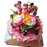 誕生日プレゼント レインボーローズ プリザーブドフラワー ディズニー バースデー B ケーキ 誕生日プレゼント 花 ミッキー&ミニー ケース付き