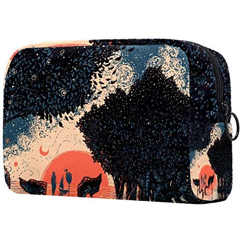ATOMO Bolsa de maquillaje, bolsa de viaje cosmética grande bolsa de aseo organizador de maquillaje para mujeres, manglares bosque flamigo pintura al atardecer