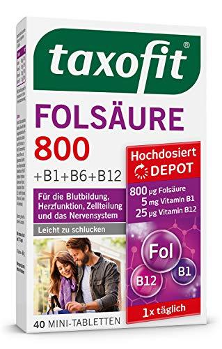 taxofit® Folsäure 800 Depot 3x 40 Mini-Tabletten für die Blutbildung, Herzfunktion, Zellteilung und das Nervensystem