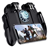 4 Trigger Mobile Game Controller with Cooling Fan Adjustable Stand for PUBG - Call of Duty - Fortnite - 6 Finger Mode L1R1 or L2R2 Gaming Grip
