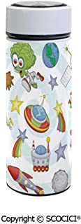 SCOCICI Vacuum Insulated Stainless Steel Water Bottle Flask Space Objects with Sun Earth Comet Stars Meteor Lunar Extraterrestrial Cartoon