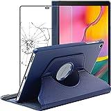 ebestStar - Funda Compatible con Samsung Galaxy Tab A 10.1 2019 T515 Carcasa Cuero PU, Giratoria 360 Grados, Función Soporte, Azul Oscuro +Cristal Templado Pantalla [Tab:245x149x7.5mm 10.1']