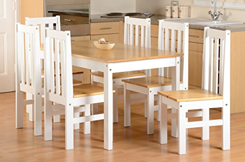 Seconique Ludlow Large Dining Set - White and Oak - Dining Table and 6 Slatted, Highback Chairs