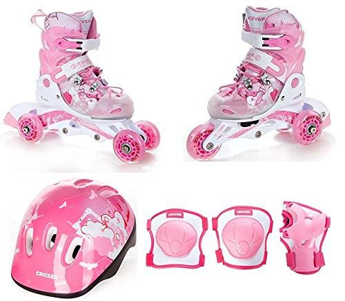 RAVEN 3in1 Kinder Inline Skates Triskates/Rollschuhe Princess 26-29 + Schützer Neve XS + Helm XS