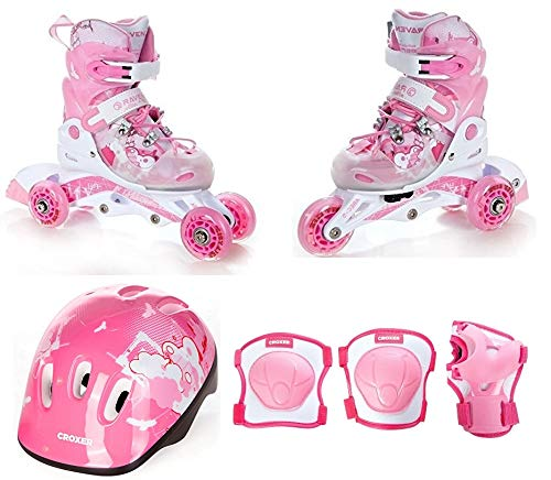 RAVEN 3in1 Kinder Inline Skates Triskates/Rollschuhe Princess 34-37 (22cm-24cm) + Schützer Neve M + Helm M