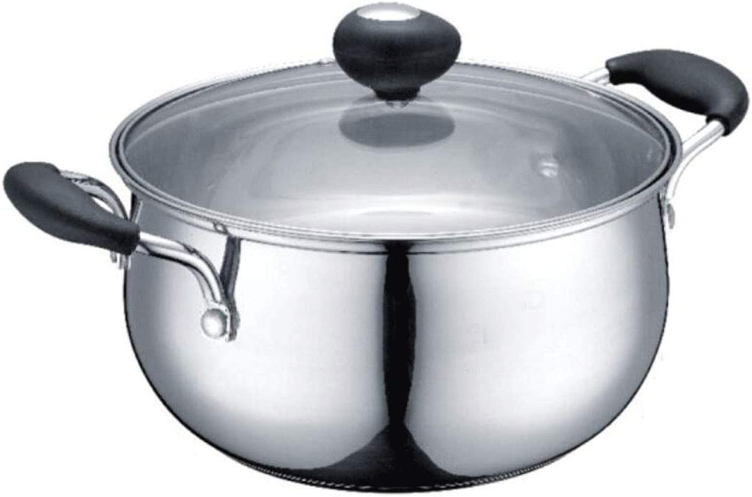 PDGJG Stainless Steel Stockpot OFFicial mail order Soup Pasta Pot H Double with Lid half