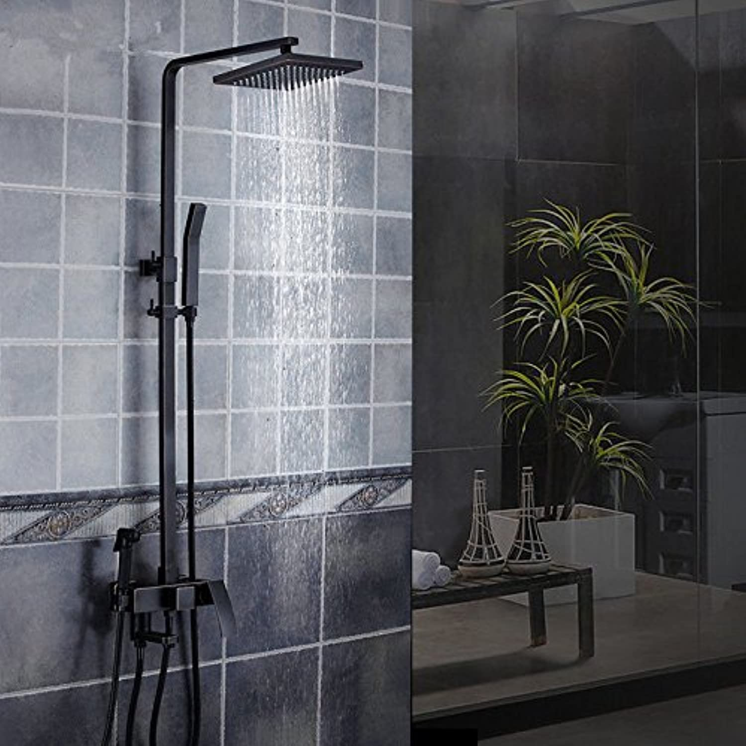 MMYNL Bathroom Fixtures Thermostatic Shower Set Bath & Shower Systems Full Copper Body Four Black Square Matte Shower Head Shower Taps