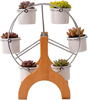 Portonss Cute Ferris Wheel Shaped Flower Pot Stands Holder with 6 Round Ceramic Succulent Plant Pots for Home Garden Offic...
