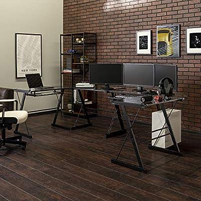 Walker Edison Modern Metal and Glass Laptop Computer Writing Gaming Gamer Command Center Desk Home Office