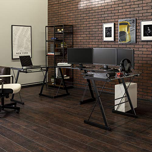 Walker Edison Modern Corner L Shaped Glass Computer Writing Gaming Gamer Command Center Workstation Desk Home Office, 2…