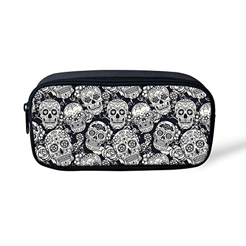 Boys Pencil Pouch Zippered Pencil Case Zipper Pen Bag to Hold Pencils, Marker for Teen Girls, Boy, Kids - Fancy Skull Patterned