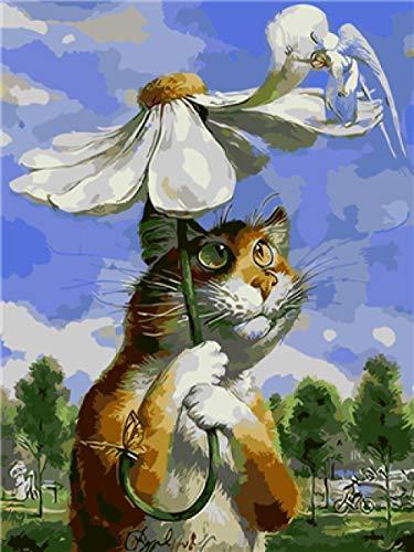 meaosy Puzzle Matte 1000 Fotogeschenk-Katze, die Regenschirm spielt 50x70cm Klassische selbstklebend Spielzeug Erwachsene Kinder Bastelspass für Jung und Alt, farbig
