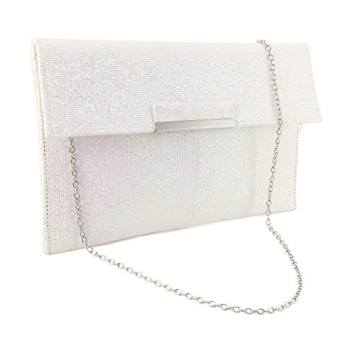 Abendtaschen Damentaschen Surepromise Glitzer Hochzeit Brauttasche Handtasche KetteTaschen Umschlag Umhängetasche, Weiß,