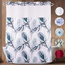 HappyBath 71x79 Hookless Fabric Shower Curtains with Replacement Polyester Liner and Translucent See-Through Top Window