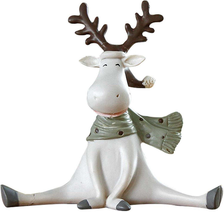 LJXLXY Resina de Navidad Elk Adornos Figuras Estilo Nórdico Lindo Animal Elk Miniatura Artesanía Sala de Estar Creativa Decoración de la Oficina en casa