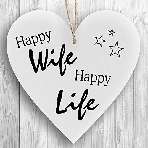 Herzschild Holzherz Holzschild 16 x 16 cm Happy Wife Happy Life weiß Dekoschild Wandschild Schild Holz Ehe Paartnerschaft