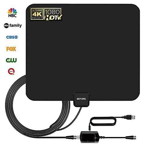 [2019 Newest] HDTV Antenna,Indoor Digital TV Antennas Amplified 80 Miles Range Amplifier Signal Booster for 1080P 4K Free TV Channels (Black) -Support All TV's-13.5ft Coax Cable
