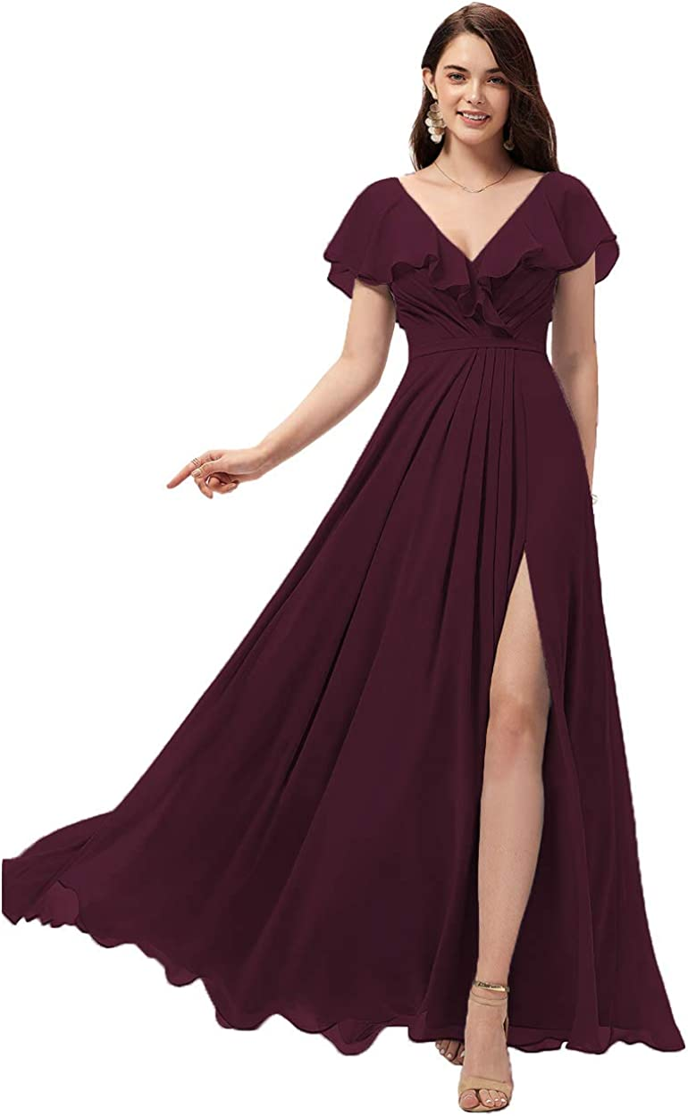 All stores are sold excellence Miao Duo Women's Long V Neck with Bridesmaid Ruffle Dresses Slit