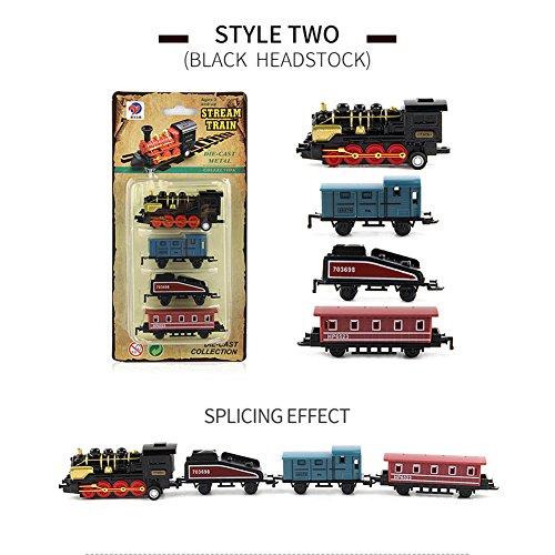 ACHICOO Modellbahn Spielzeug, 4pcs Kinderlegierung Simulation Dampfzug Kreative Mini-Auto Modelle Spielzeug Geschenke für Kinder schwarz Kinder, Freunde
