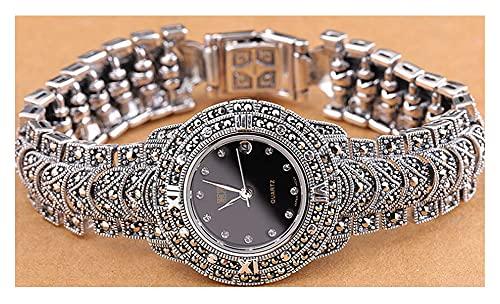 CHXISHOP Pulsera de Las Mujeres Reloj Movimiento de Cuarzo 925 Reloj de Plata esterlina Retro Dial Inlaid Black Diamond Watch Watch Watch Black- 19cm