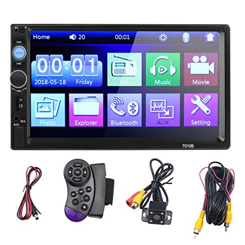 Price comparison product image N / X qiuQIlIN Car Stereo 2 Din, 7 inch Touch Screen MP5 / MP4 / MP3 Multimedia Player, Bluetooth Audio, Car Stereo Receivers, FM Radio, USB / SD / AUX Input Support Steering Wheel Remote Control, Rear View Camera