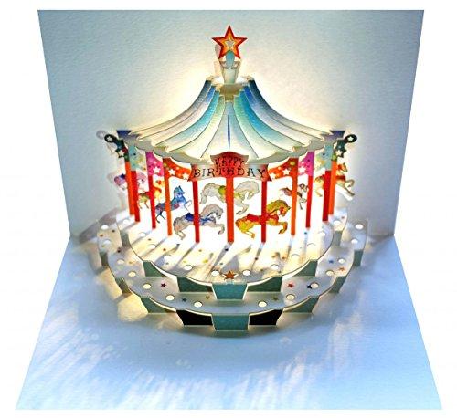 FOREVER Pop Up 3D Karte Kinder Geburtstagskarte Geburtstag Gutschein Karussell Pferde 16x11cm