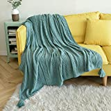 Sylanfia Teal Throw Blanket for Couch, Turquoise Throw with Pompom, Textured Solid Knitted Lightweight Decorative for Couch,Bed,Sofa, 50'x 60'
