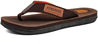 Fashion Slippers for Men Flip-Flops Casual Slip On Mesh Material Simple Casual Stitching Soft Slippers Men's Boots (Color : Brown, Size : 8.5 UK)