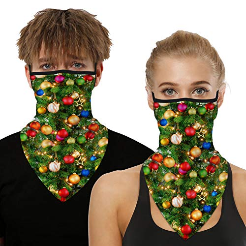 Ainuno Funny Face Covering Christmas Mask Ugly Xmas Face Bandana Mask with Ear Loops Green Holiday Neck Gaiter Scarf Gaitor Christmas Tree Printed Lights Lantern Fun Half Face Wrap Party Accessories